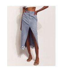 saia jeans feminina hype beachwear midi com fenda e cinto azul médio