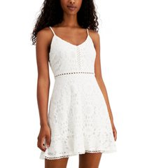 speechless juniors' ruffled lace fit & flare dress
