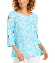 jm collection amalfi printed split-sleeve top, created for macy's