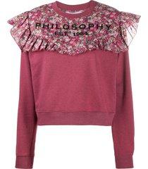 philosophy di lorenzo serafini floral print panelled sweatshirt - pink