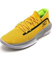 tenis basketball amarillo-blanco-negro under armour ua sc 3zero iii