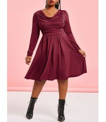plus size cowl neck ruched knee length dress