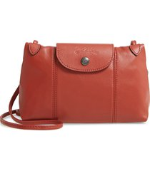 longchamp le pliage - cuir leather crossbody bag - orange