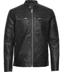jackets outdoor woven läderjacka skinnjacka svart esprit casual
