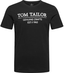 t-shirt with t-shirts short-sleeved svart tom tailor