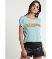 """blusa feminina """"london"""" com suede manga curta decote redondo verde"""