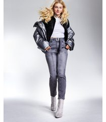 guess high-rise belted straight-leg jeans