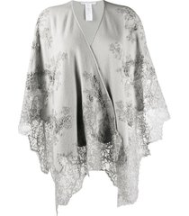 ermanno scervino lace-panelled shawl - grey