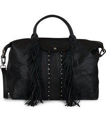 fringe trim leather satchel
