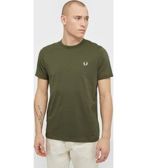 fred perry ringer t-shirt t-shirts & linnen military green