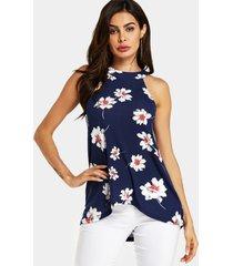 yoins blusa sin mangas con cuello halter y estampado floral al azar en azul marino
