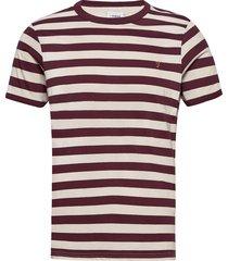 belgrove stripe t-shirt t-shirts short-sleeved röd farah