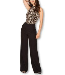 ax paris 2 in 1 animal print high neck jumpsuit