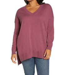 adyson parker step hem tunic sweater, size 3x in berry melange at nordstrom