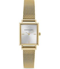 classic rectangular goldtone stainless steel mesh bracelet watch