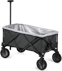 oniva by picnic time grey adventure wagon elite portable utility wagon with table & liner