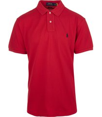 man red and navy blue slim-fit pique polo shirt