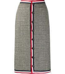 thom browne prince of wales shetland wool low-rise skirt - 980 blk/wht