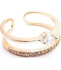anillo micropave doble medio cintillo baño oro cristal blanco sara k
