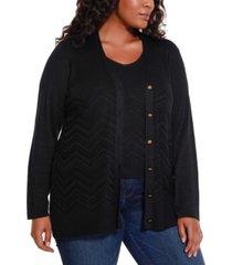 belldini black label women's plus size chevron pattern cardigan and tank twinset