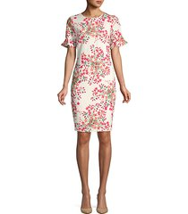 floral flare-sleeve sheath dress