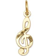 14k gold charm, treble clef charm