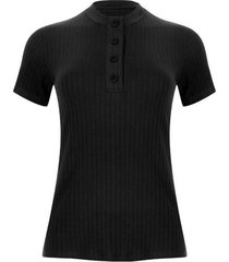 camiseta cuello alto con botones color negro, talla 12