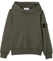 stone island green cotton hoodie