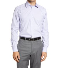 men's big & tall david donahue trim fit plaid dress shirt, size 18.5 - 34/35 - blue