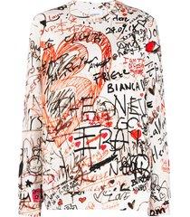 burberry printed doodles sweatshirt - neutrals