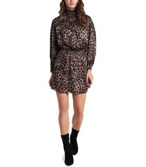 1.state animal-print luxe smocked mock-neck dress