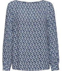 d1. autumn print viscose blouse blouse lange mouwen blauw gant