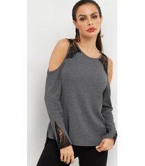 gris redondo cuello recorte hombros descubiertos inserción de encaje camisetas