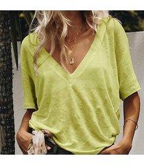 camiseta de manga corta con cuello en v sólida tops para mujer-amarillo