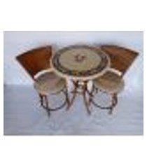 conjunto de mesa varanda bege