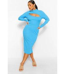 plus geribbelde midi jurk met uitsnijding, azuurblauwe
