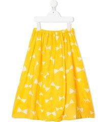 bobo choses bow-print wrap skirt - yellow