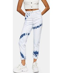 bleach tie dye mom tapered jeans - bleach denim