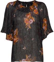 3310 light - nahomi blouses short-sleeved zwart sand