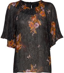 3310 light - nahomi blouses short-sleeved zwart sand
