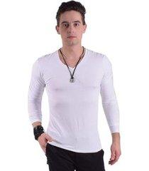 camiseta manga longa gola v levok masculina - masculino
