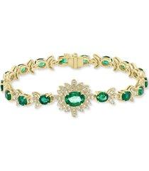 effy emerald (6-3/8 ct. t.w.) & diamond (1-1/5 ct. t.w.) link bracelet in 14k gold