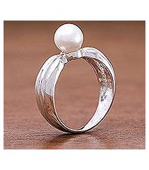 cultured pearl solitaire ring, 'silver ribbon' (thailand)