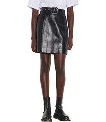 women's sandro belted leather miniskirt, size 3 - black