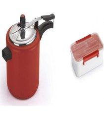 kit pote plã¡stico para marmita 780ml+ panela de pressã£o 4.5l - prata - dafiti