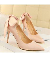 pp470 chic bowtie sharpy pumps, stiletto, satin surface,  us size 4-8.5, pink