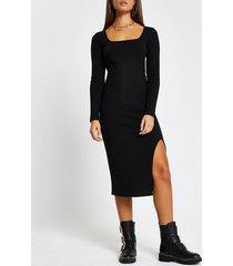 river island womens black ribbed square neck split front dress