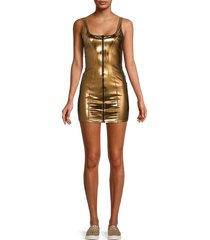 lisa marie fernandez women's metallic front-zip mini dress - bronze - size xxs