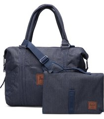 strand sprout-indigo denim crosshatch bags top handle bags blauw herschel