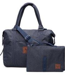 strand sprout-indigo denim crosshatch bags top handle bags blauw herschel